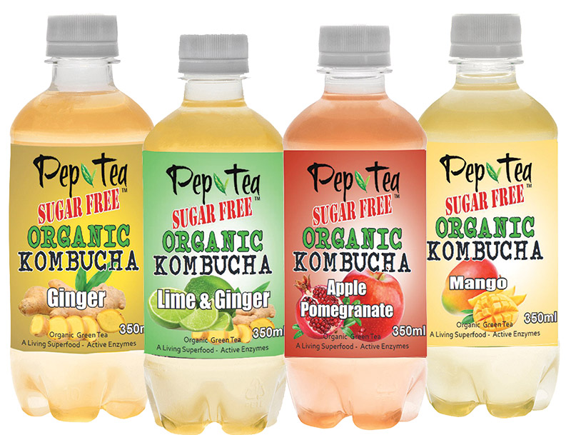 Pep Tea brand organic Kombucha also great Cocktails Mixers